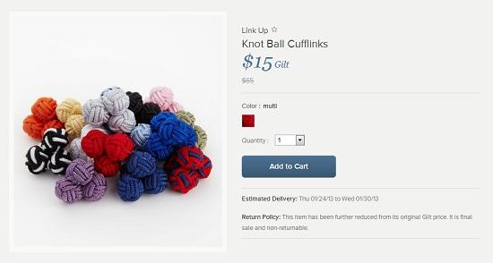 knot ball cufflinks