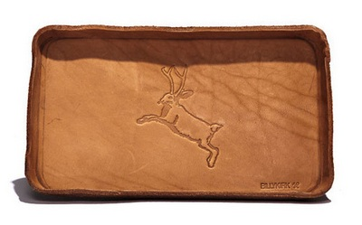 Made in the USA.  Not from Jackalope leather,.