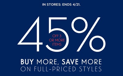 You'll need the email.  45% off is for 3, full priced items, in store.