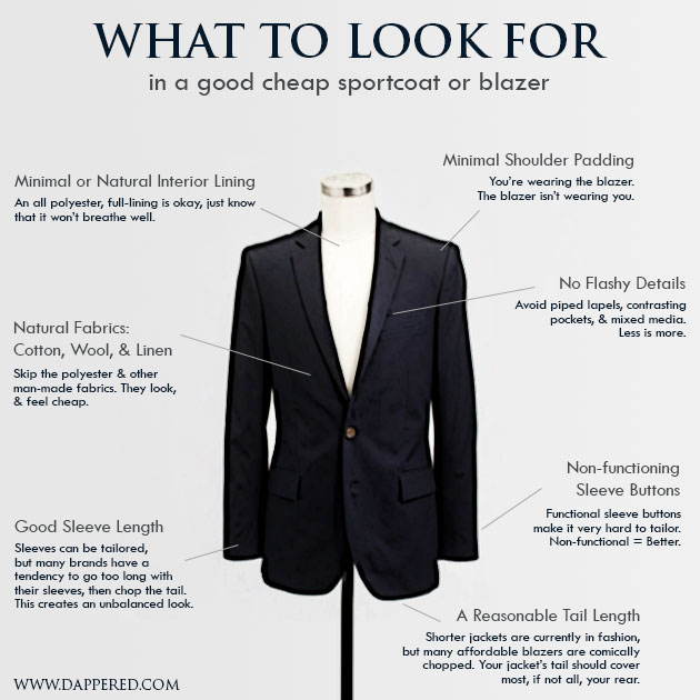 what to look for in a cheap blazer from Dappered