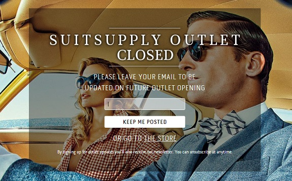 Suitsupply outlet closed