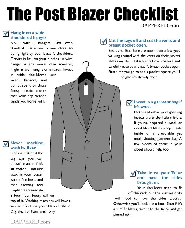 Post Blazer Purchase Checklist by Dappered.com