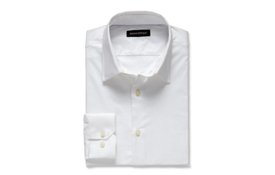 Slim-fit Stretch Poplin Dress Shirt in White on Dappered.com