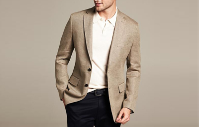 BR Tailored-Fit Khaki Linen Blazer on Dappered.com