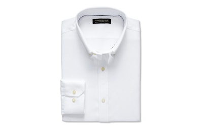 Tailored Slim-Fit Non-Iron Pique Button-Down in White on Dappered.com