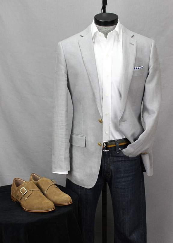 Aston Grey Suede Monks with Jeans & Blazer