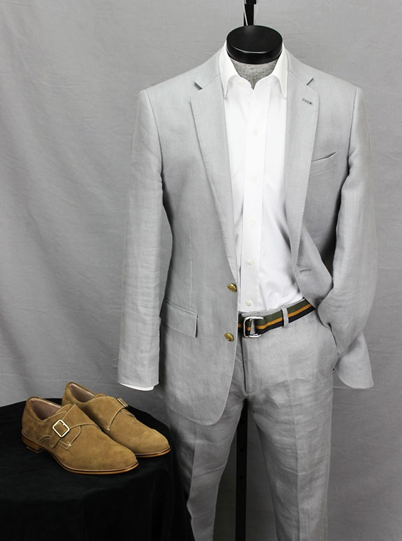 Aston Grey Suede Monk with a Summer Suit