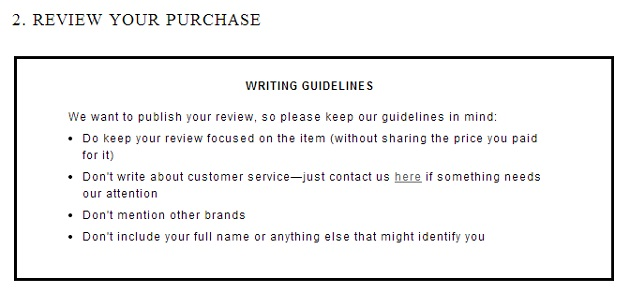 jcrew review policy