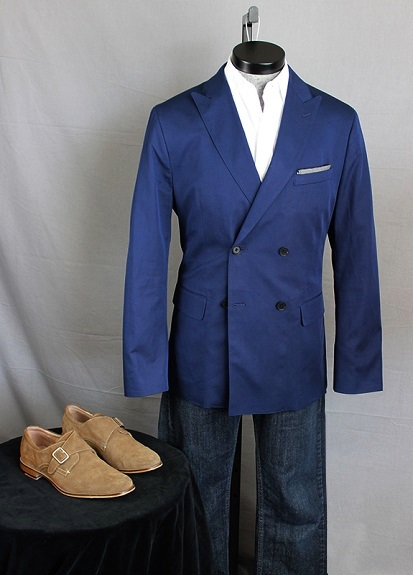 BR Double Breasted Blazer with Jeans on Dappered.com