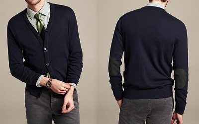 BR Elbow Patch Cardigan on Dappered.com